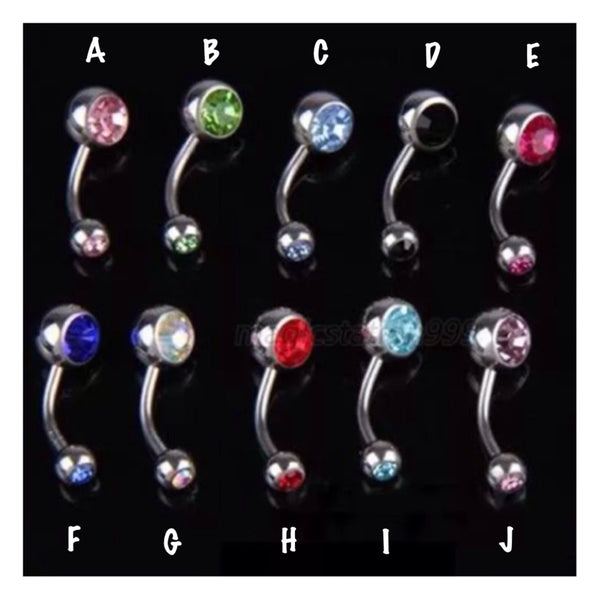 Gem Accented Standard 316L Ball Belly Ring - Cheryl's Galore and More