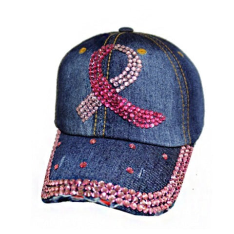 """Fight the Fight"" Pink Ribbon Studded Blue Denim Hat"