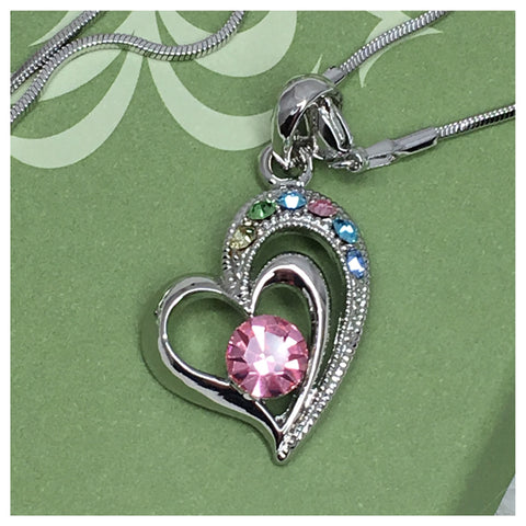 """My Colorful Heart"" Rhinestone Accented Open Heart Necklace, Accessories - Cheryl's Galore and More - 1"