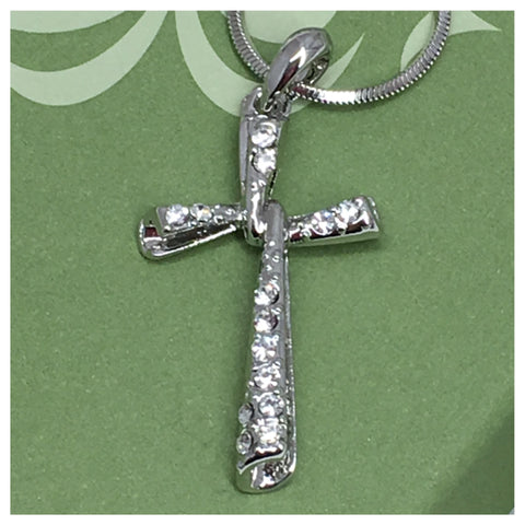 Crystal Accented Whitegold Swirl Cross Necklace - Cheryl's Galore and More - 1