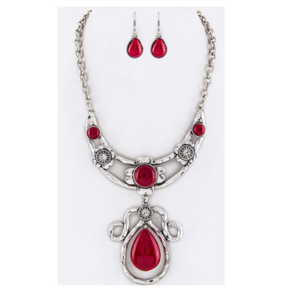 Stunning Red Stone and Crystal Necklace Set