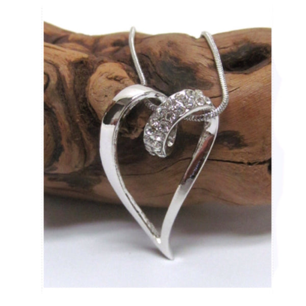 Beautiful Eye Catching Crystal Heart Pendant Necklace - Cheryl's Galore and More