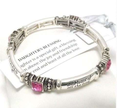 "Bracelet-Silver and Pink Crystal Engraved ""Daughters Blessing"" Stretch Bracelet - Cheryl's Galore and More"