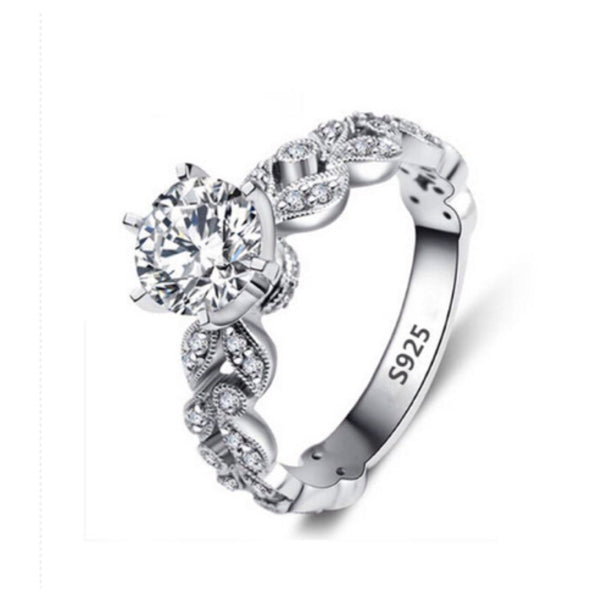 Beautiful Cubic Zirconia-925 Sterling Silver Engagement Style Ring - Cheryl's Galore and More