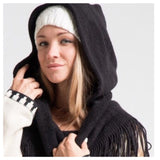 Adorable Me, Fringe Trim Hooded Black Infinity Scarf