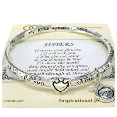 """Always Beautiful"" Inspirational Engraved ""SISTERS"" Charm Bracelet - Cheryl's Galore and More - 1"