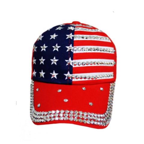 """American Pride"" Stars and Stripes American Flag ""Bling"" Red Hat"