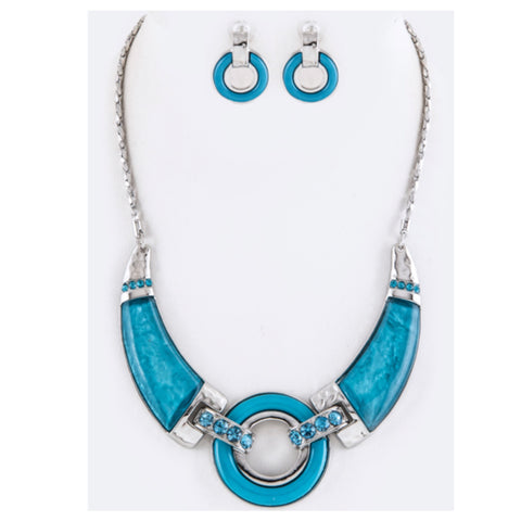 """Simply Beautiful"" Bar and Hoop Aqua Blue Statement Necklace Set"