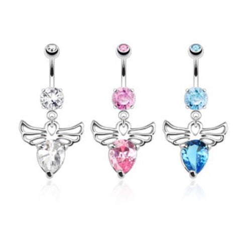 Angel Wings with Pear CZ 316L Belly Ring - Cheryl's Galore and More