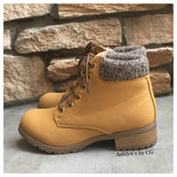 """Bucket List"" Pepper Trim Tan Bootie Boots, Ankle Boots - Cheryl's Galore and More - 1"