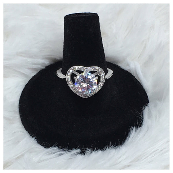 Beautiful Cubic Zirconia-925 Sterling Silver Heart Engagement Style Ring - Cheryl's Galore and More - 1