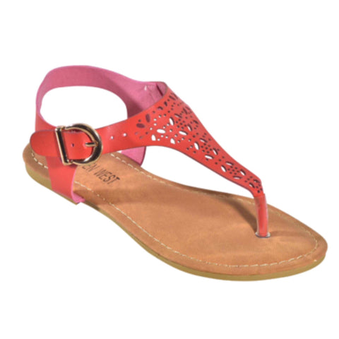 "INSANITY CLOSEOUT ""Adorable Me"" Cut Out T Strap Boho Coral Sandals"
