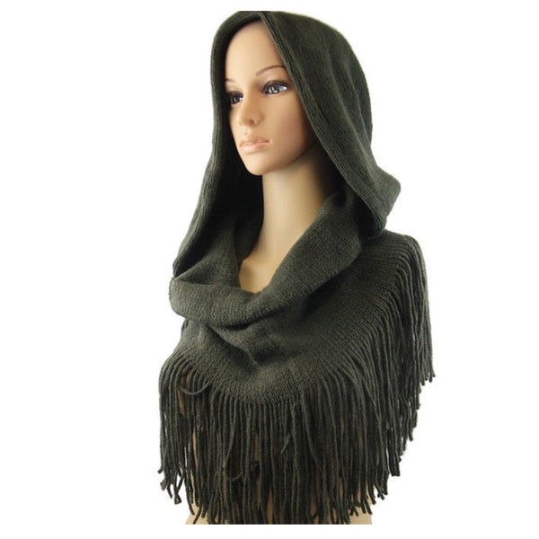 Adorable Me, Fringe Trim Hooded Olive Infinity Scarf