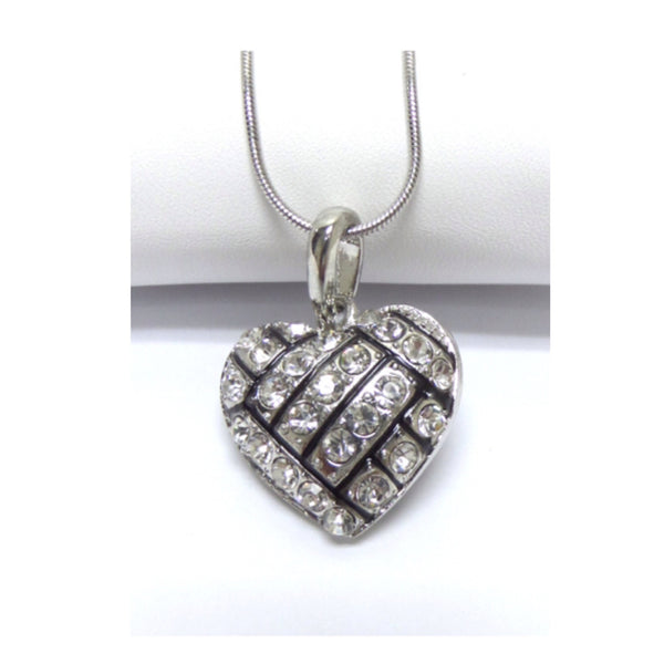 Crystal Accented Puffy Heart Volleyball Pendant Necklace - Cheryl's Galore and More