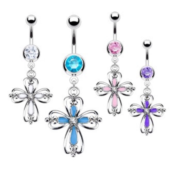 CZ Heart Cross 316L Belly Ring - Cheryl's Galore and More