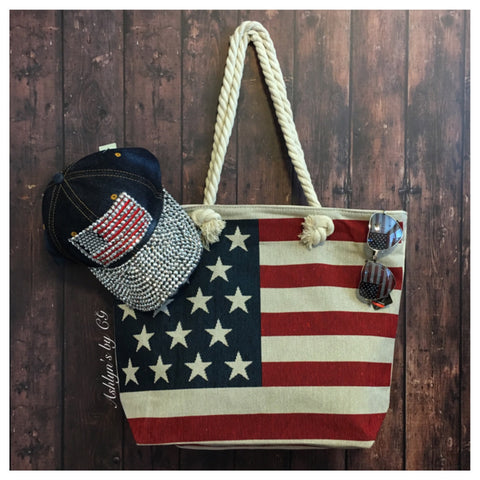 """American Pride"" Stars and Stripes American Flag Tote Bag"