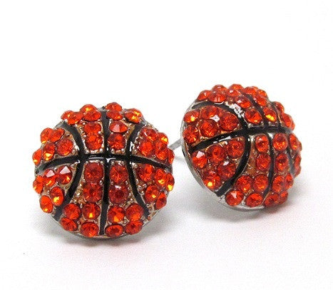Crystal 'Bling' Basketball Stud Earrings - Cheryl's Galore and More