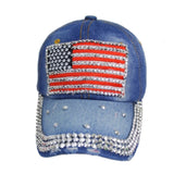 """American Pride"" Stars and Stripes American Flag Light Denim Blue Hat"