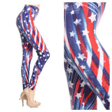 """American Pride"" Red White and Blue American Flag Leggings"