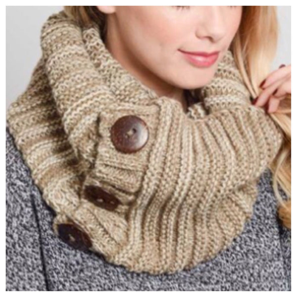 Cozy Warm Chunky Knit Button Accent Mocha Infinity Scarf - Cheryl's Galore and More - 1