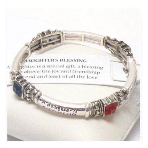 "Silver and Multi Crystal Engraved ""Daughters Blessing"" Stretch Bracelet - Cheryl's Galore and More"