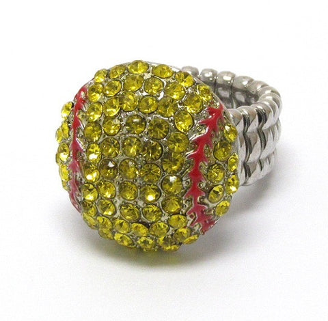 "Crystal ""Bling"" Rhinestone Softball Ring - Cheryl's Galore and More"