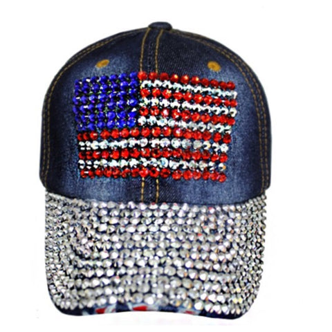 """American Pride"" Stars and Stripes American Flag Denim Blue Hat"