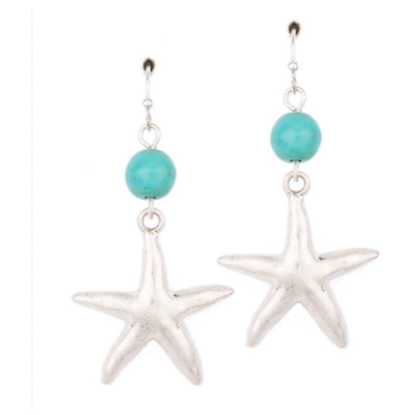 """Sea Life"" Silver Starfish Turquoise Semi Precious Stone Dangle Earrings - Cheryl's Galore and More"
