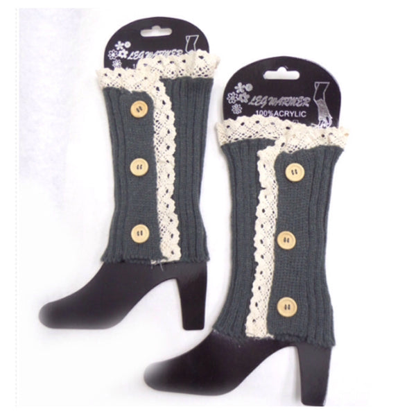 Lace Button Accent Grey Boot Toppers, Boot Cuffs - Cheryl's Galore and More