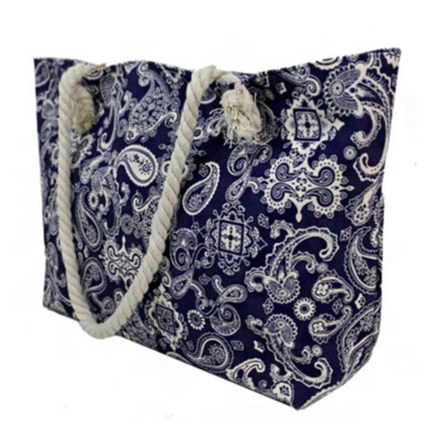 """Always My Style"" Navy White Paisley Print Canvas Tote Bag"