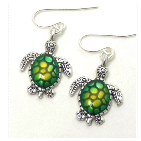 """Lovin Sea Life"" Eye Catching Green Yellow Sea Turtle Dangle Earrings - Cheryl's Galore and More"