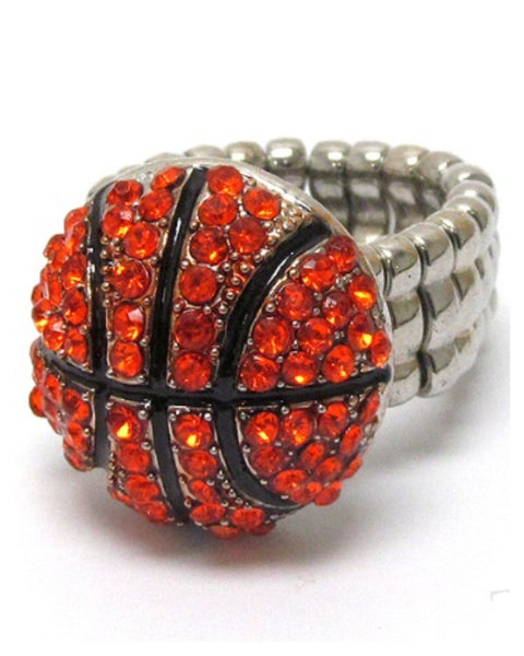 Crystal 'Bling' Basketball Stretch Ring - Cheryl's Galore and More