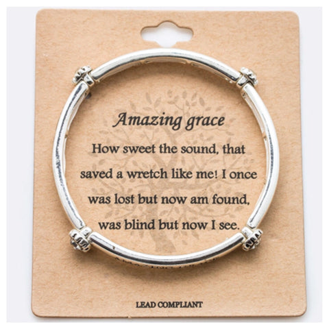 "Inspirational Engraved ""Amazing Grace"" Crystal Accent Bracelet"