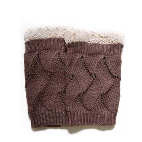 Adorable Lace Trim Khaki Brown Boot Toppers, Boot Cuffs - Cheryl's Galore and More