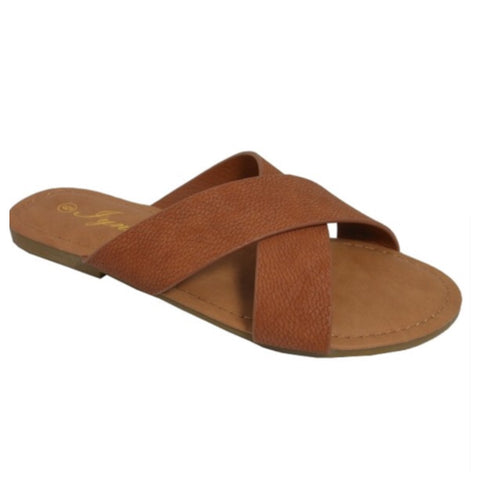 Criss Cross Strap Camel Brown Sandals