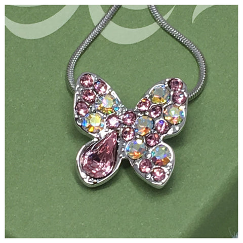 Beautiful Eye Catching Crystal Accented Butterfly Pendant Necklace - Cheryl's Galore and More - 1