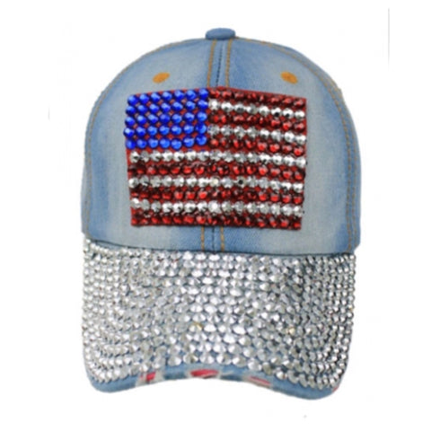 """Patriotic Me"" Red White and Blue ""Bling"" American Flag Denim Hat - Cheryl's Galore and More"