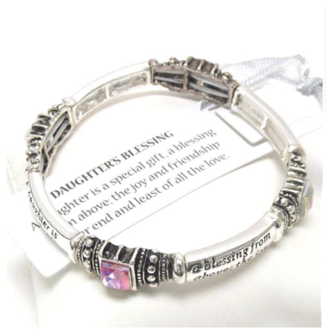 "Bracelet-Silver and Crystal Engraved ""Daughters Blessing"" Stretch Bracelet - Cheryl's Galore and More"