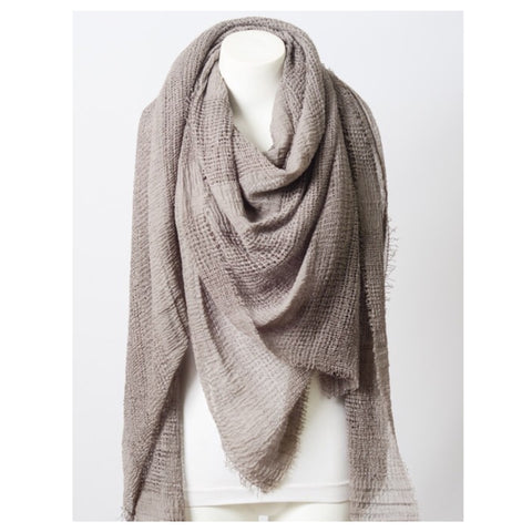 Adorable Shredded Weave Huge Taupe Blanket Scarf