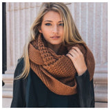 """I'm Never Cold"" XL Thick Chunky Knit Camel Brown Infinity Scarf - Cheryl's Galore and More - 2"