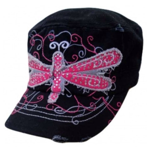 Adorable Pink Dragonfly Crystal Accented Black Hat, Cadet Hat, Women's Accessories - Cheryl's Galore and More