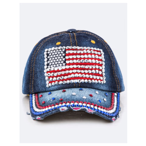 """American Pride"" Red White and Blue Flag Denim Hat"