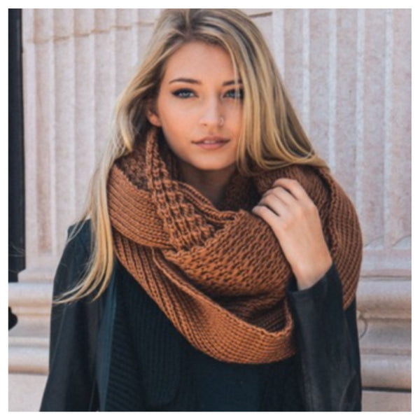 """I'm Never Cold"" XL Thick Chunky Knit Camel Brown Infinity Scarf - Cheryl's Galore and More - 1"