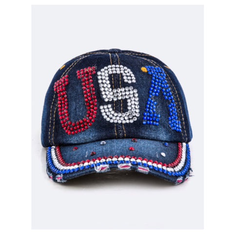 """American Pride"" Red White and Blue USA Denim Hat"