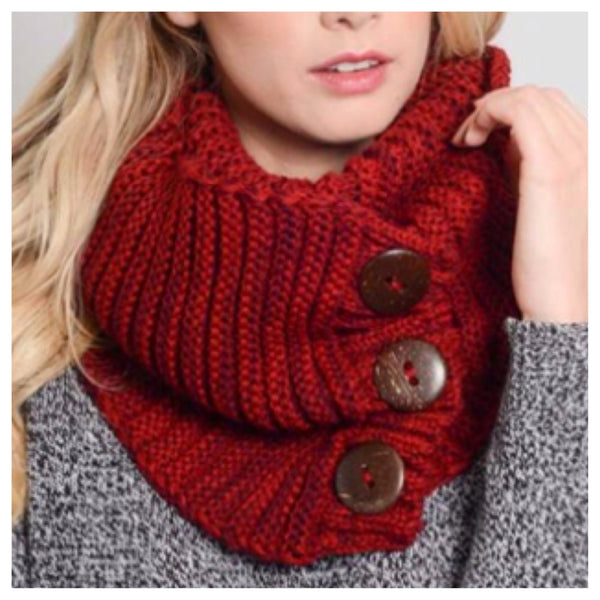 Cozy Warm Chunky Knit Button Accent Red Infinity Scarf - Cheryl's Galore and More - 1