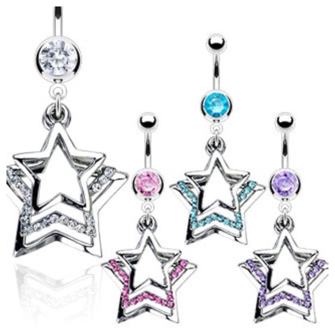 Triple Paved Dangle Star 316L Belly Ring - Cheryl's Galore and More