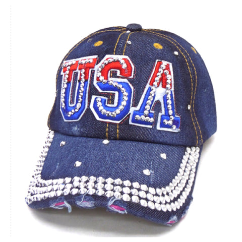 """Patriotic Me"" Red White and Blue USA Denim Hat - Cheryl's Galore and More"