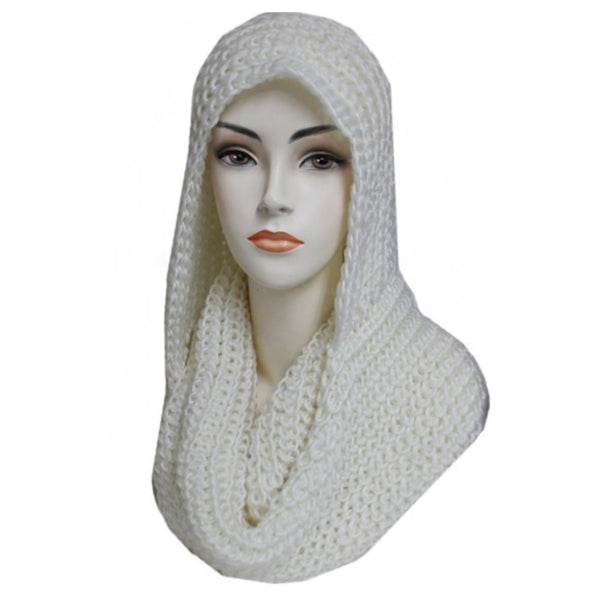 """Simply Adorable"" Classic Crochet White Hooded Infinity Scarf - Cheryl's Galore and More - 1"