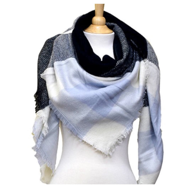 """Always My Style"" Cozy Blue Tone Plaid Blanket Scarf - Cheryl's Galore and More - 1"