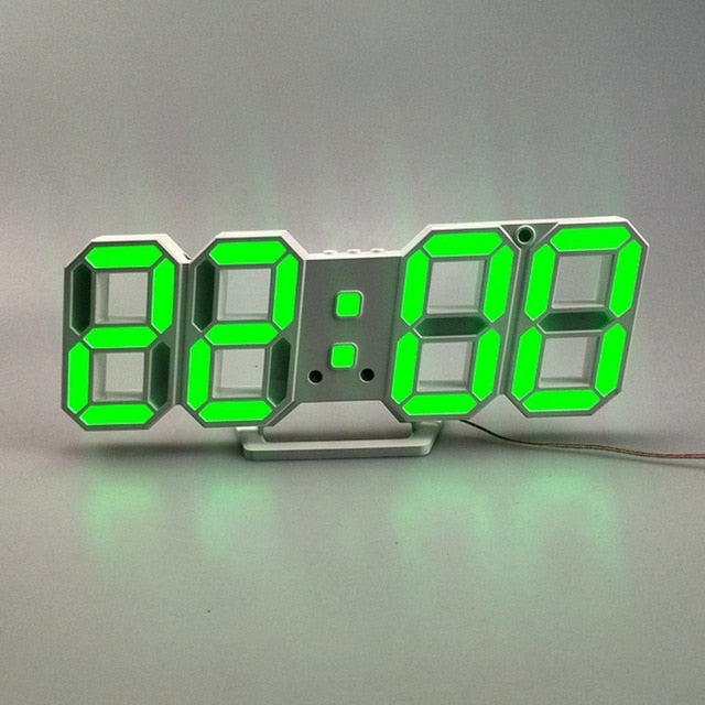 3D LED Wall Clock Modern Digital Alarm Clocks Display Home Kitchen Office Table Desk Night Wall Watch 24 Or 12 Hour Display